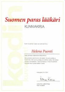 Почетная грамота журнала Kodin kuvalehti 2001