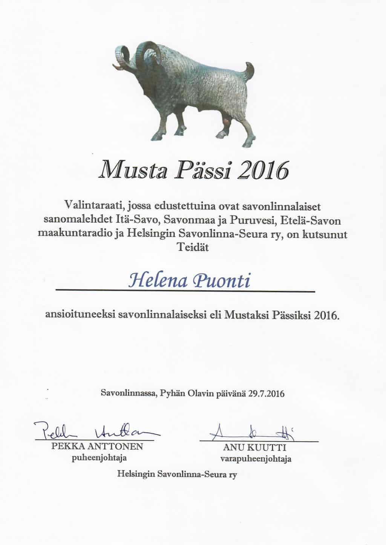 Почетный гражданин региона Савонлинна - 2016