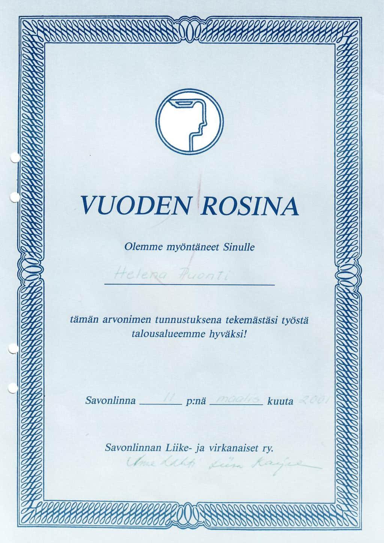 Диплом Rosina - 2001