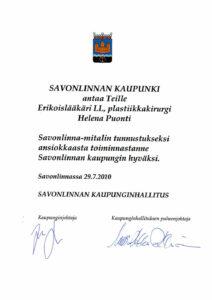 Savonlinna City Medal 2010