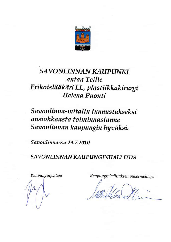 Диплом города Савонлинна - 2010